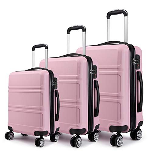 Kono Luggage Sets of 3 Piece Lightweight 4 Spinner Wheels Hard Shell Trolley Case 20'/24'/28' (Pink Set)