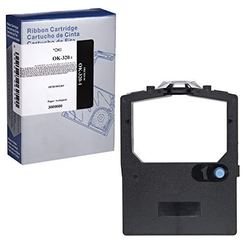 Faxland INQ PRINT - Cinta de Impresora Compatible con Oki ML 182/193/280/320/321/3320/3321/390 (3 Millones de Caracteres), Color Negro