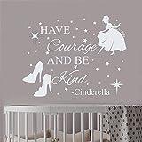 Wandtattoo Cinderella-Zitat für Kinderzimmer Kristall Schuhe Start Princes Art Nursery Schlafzimmer Dekor