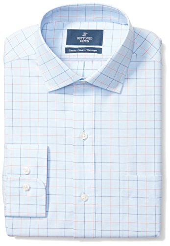 BUTTONED DOWN Men's Classic Fit Spread-Collar Pattern Non-Iron Dress Shirt, Blue/Orange Tattersall Check, 17' Neck 37' Sleeve