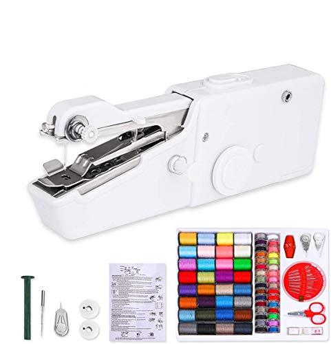 Mini Máquina de Coser Portatil con 70 piezas Bolsa de Coser - Eléctrica de Mano Máquina de Coser para Ropa de Tela, Cortinas, DIY Hogar y Uso de Viaje (Blanco)