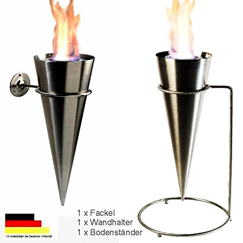 Wandfackel Bodenfackel Fackel Feuerfackel Gartenfackel Cylinder Komplett aus Edelstahl Gel Ethanol