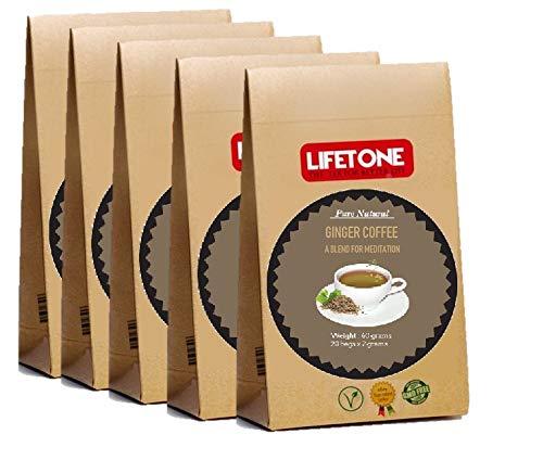 Ingwer Koriander Kardamom Kaffee | Yoga Kaffee | Kaffeebohnenmischung mit Kardamom, Koriander, Ingwer, Nelke, Pfeffer und Zimt 100 Beutel 200g | Entgiftungskaffee | Stressabbau Kaffee