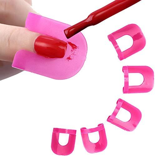 Beito 26 Stück Resuable Nagellack -Schablonen Kit-Nagel-Gel-Formen Nägel Rand Hautschutz Maincure Werkzeug Rosa 10 Größe
