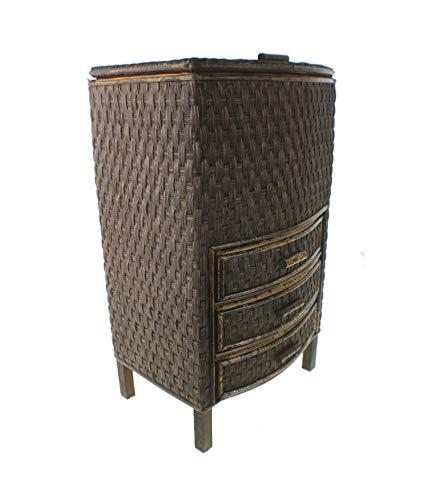 CAL FUSTER - Costurero de mimbre alto con tres cajones y forro interior: Medidas: 55x33x26 cm.