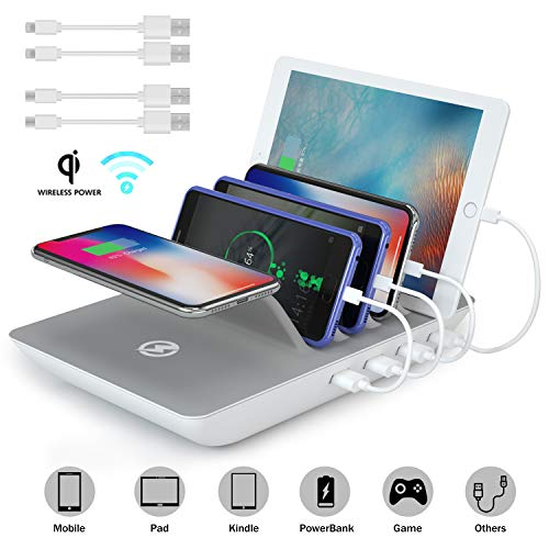 ValueTalks Multi USB Ladestation Qi Ladestation mehrere geräte Fast Wireless Charger 10W Induktives Ladegerät mit 4 USB Kabel Organizer für Handy iPhone iPad Tablet