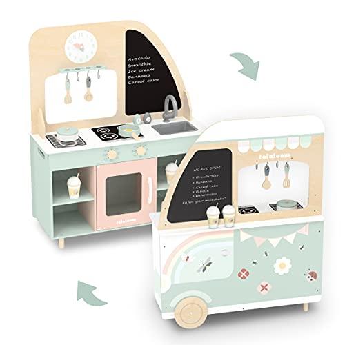 Lalaloom FOODIE TRUCK, Cocina de juguete de madera de diseño Food Truck, juego de imitación educativo y cocinita infantil de aprendizaje para niños y niñas de 3 años, con accesorios