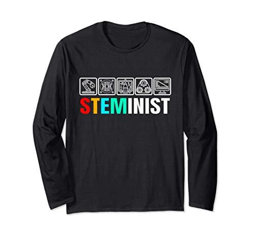 Steminist Womens Scienza Tecnologia Ingegneria e medicina Maglia a Manica