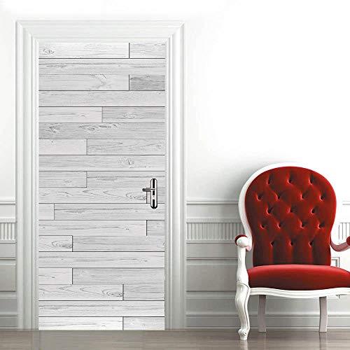 Mural para Puerta Suelo Blanquecino 3D Papel Pintado Puerta Autoadhesivo Vinilos Pegatinas De Pared Diy Decoraciones para Puerta Sala De Baño Estar Dormitorio 95X215Cm