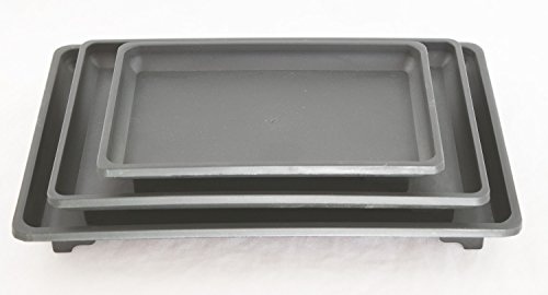3 Mix Rectangular Black Plastic Humidity Tray for Bonsai Tree and House Plants 7', 9' & 10.5'