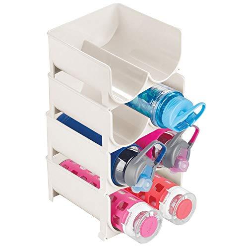 mDesign 4er-Set modernes Weinflaschenregal – stapelbares Flaschenregal für Wasserflaschen und Trinkflaschen – stilvoller Weinflaschenhalter für die Küche und Vorratskammer – cremefarben/beige