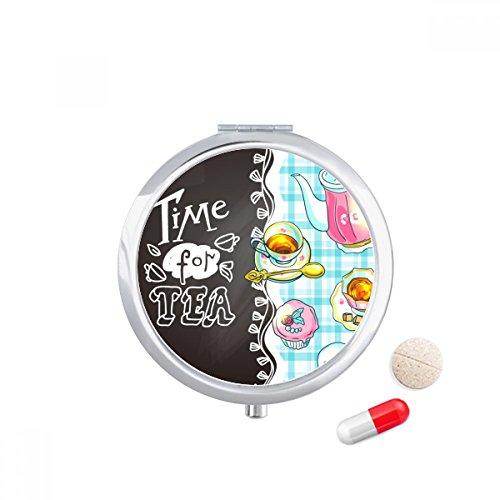 DIYthinker Tijd Voor Thee Cupcake Theepot Frankrijk Reizen Pocket Pill Case Medicine Drug Opbergdoos Dispenser Spiegel Gift