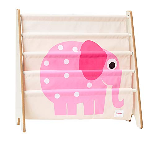 3 Sprouts Book Rack – Kids Storage Shelf Organizer Baby Room Bookcase Furniture, Elephant