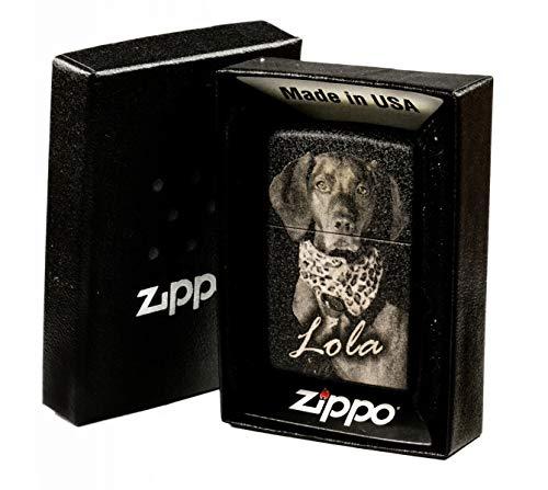 Zippo Feuerzeug mit EINSEITIGER Wunsch Gravur Fotogravur Black schwarz matt