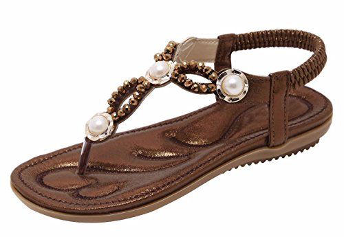 Jiu du Summer Flat Sandals for Women Rhinestone Comfor Flip Flop Walking Shoes Coffee Sequin Size US7 EU38