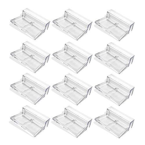 FYSL 12 Stück Glasabdeckungs-Clips für Aquarien 6mm Acryl Aquarium Glasabdeckung Clip Unterstützung Halter Universale Halterungen für Randlose Aquarien