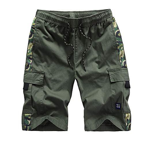 Pantalones cortos de verano para hombre, holgados, de algodón puro, para deportes de playa Verde Ejercito Verde 8X-Large