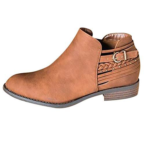 DressLksnf Botas Cortas para Mujer Otoño de Retro Hueco Hebilla de Cuero Botines de Tacon Bajo Color Sólido Planas Zapatos Romanas Basic Respirable Botines de Tacon Bajo Marrón Gris