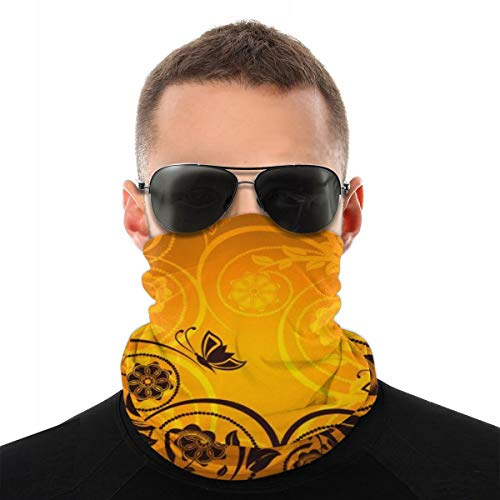 Uosliks Headwear Orange Floral Ornament With Butterfly 10'x20' Inch Unisex Headband Neck Gaiter Scarf