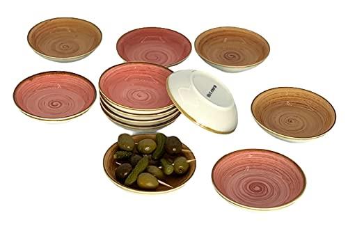 Cuencos Aperitivo Salsa Porcelana Pack 12 piezas color rosa/marrón canela - 9 .9 x 5.5 x 2.5 cm /50 ml/ apto lavavajillas y apto microondas