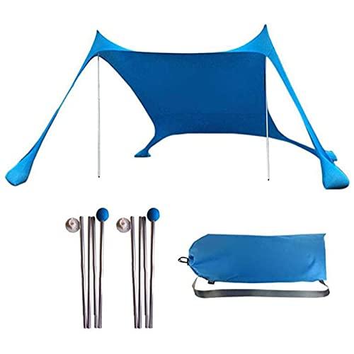 Carpa para Sombra de Playa Refugio de Playa Sombrilla Carpa Familiar Toldo Toldo Protección UV con Bolsa de Arena Paraguas portátil para Acampar, Pescar, Picnic, Playa 3-4 Personas (Azul)