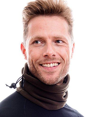 Hilltop Polar Multifunktionstuch/Motorradmaske/Skimaske/Kälteschutz/Gesichtsmaske/Halswärmer/Polar Halstuch mit Kordelzug 100% Fleece, Design/Farbe:dunkel braun
