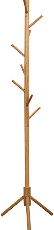 Solid Wood Coat Rack Floor Type Single Pole Simple Hanger Home Hall Clothes Rack 8 Hook