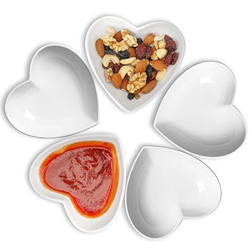 Juego de 5 cuencos de cerámica, diseño de corazón, para helado, pudín y crema, 140 ml
