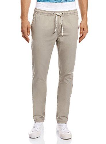 oodji Ultra Uomo Pantaloni in Cotone con Laccetti, Beige, 42
