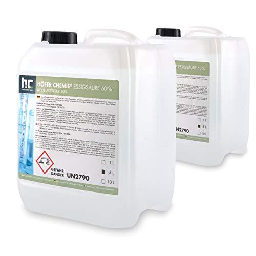 Höfer Chemie 2 x 5 L Essigsäure 60% frisch abgefüllt in praktischen 5 L Kanistern