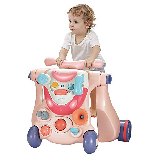OUNUO 3 in 1 Lauflernwagen Lauflernhilfe, Gehhilfe mit Spielbrett, Rutschauto mit Lichtern und Musik, mit multifunktionalem Aktivitätszentrum, Lernspiele für Babys von 6-36 Monaten (Rosa)