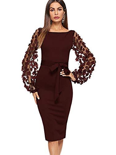 DIDK Damen Netz Figurbetontes Kleid Schlauch Kleider mit Knoten Gürtel Stickerei Blumen Applikation Bishop Knielang Bleistift Einfarbig Party, S, Bordeaux U-Boot Ausschnitt