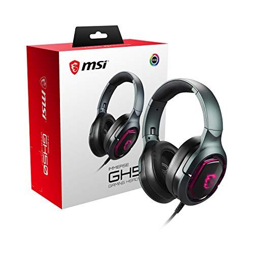 MSI Fone de ouvido para jogos Immerse GH50 7.1 Surround Sound RGB Mystic Light Metal Construção Dobrável Design Headset, grande, preto
