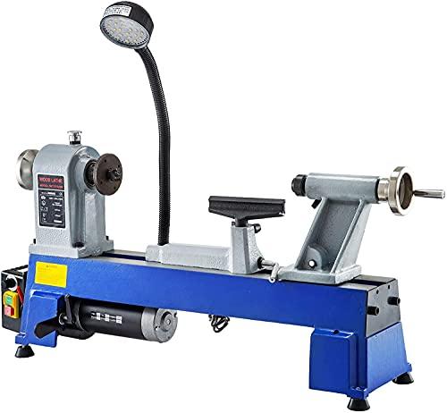VEVOR Torno para Madera 550 W 220 V 650-3800 RPM Mini Torno de Madera de Mesa Infinitamente Variable Distancia entre Centros 457 mm Torno para Madera Profesional para Laboratorio/Taller/Ingeniería