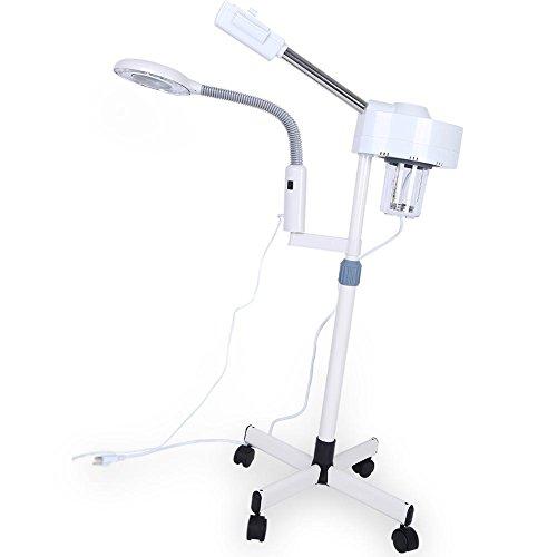 Facial Steamer LED 3X Lámpara de Pie de Aumento 2 en 1, Soporte de Vapor Facial Multifuncional Profesional con Giratoria Ajustable 3 X Lámpara de Aumento para Equipo de Cuidado de la Piel Salón