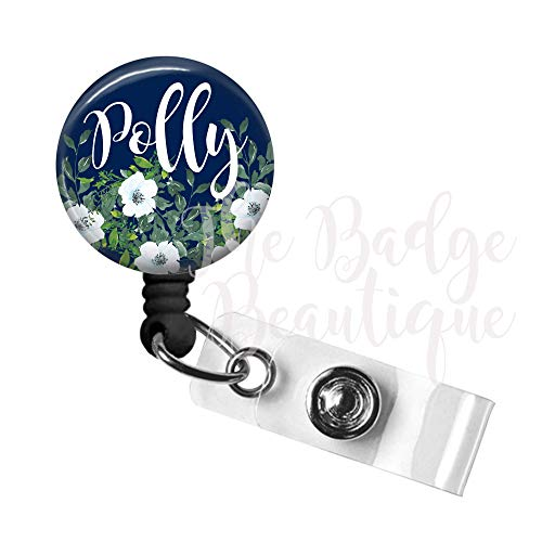 Badge Reel, Custom Retractable ID Tag, Personalized Cute Nurse Gift, Swivel Alligator Clip, 34in. Nylon Cord, Medical MD RN Badge ID Holder, Badge Pull, Office Employee Name Tag - Blue Floral