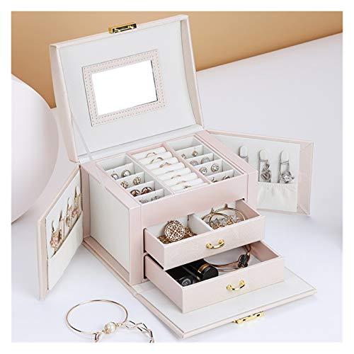 yuyouzhong Luxus-DREI-Tier-Speicher-Schmuckschatulle mit Spiegel Tragbare Seidenfaden Aufbewahrungsbox Ohrstecker Ring Schmuckschatulle (Color : Pink)