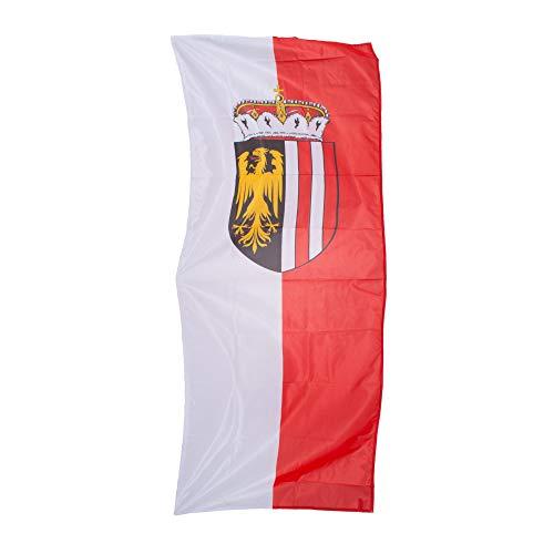 Fahnen Kössinger, Hissfahne im Hochformat, Fahne Bundesland Oberösterreich, Hissfahne mit Wappen, hochwertiger Siebdruck, Brillante Farben, weiß-rot, reißfest, 150 x 400 cm, 6,0 m² Fläche