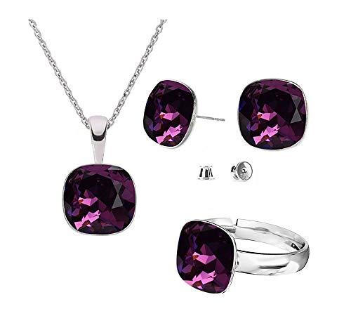 Beforya Paris – Argento 925 Square – Ametista – Set di orecchini – collana e anello regolabile di Swarovski® – Gioielli con cofanetto