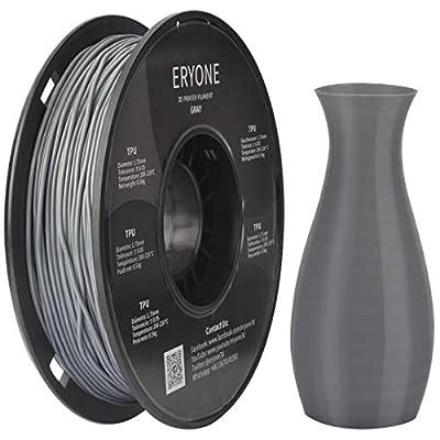 Filament TPU 1.75mm, Eryone TPU Filament 1.75mm, 3D Printing Filament TPU for 3D Printer, 0.5kg 1 Spool, Transparent Grey