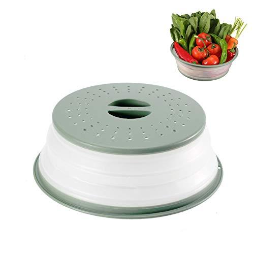 LxwSin Mikrowellen-Abdeckung, Faltbare Mikrowellenabdeckhaube, Heizungsabdeckung für Lebensmittel, Spritzschutzabdeckung für Lebensmittel, Filterkorb mit Dampflöchern für Obst und Gemüse, BPA-Frei
