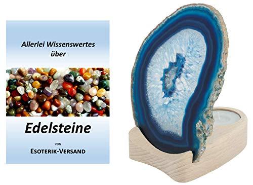 Esoterik-Versand Achatscheibe blau. Ø 10 bis 12 cm auf Holzständer, incl. 36-seitige Broschüre