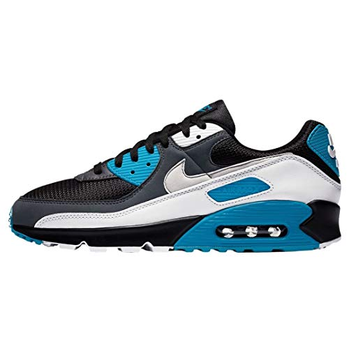 Nike Air MAX 90, Zapatillas para Correr Hombre, Black Neutral Grey Dk Grey White Laser Blue Mtlc Silver, 40.5 EU