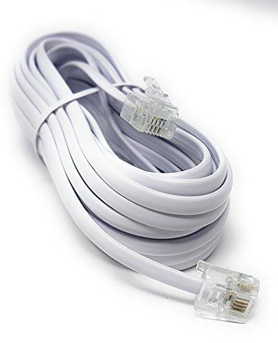Maincore - Cavo ADSL ad alta velocità bianco piatto per modem, cavo da RJ11a RJ11(disponibile in 1m, 2m, 3m, 5m, 10m, 15m, 20m, 30m) 5 m white