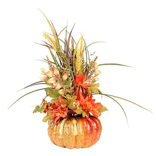 ABOOFAN Fall Pumpkin Centerpiece Artificial Pumpkin Ornament with Maple Leaves Sunflower Wheat for Fall Wedding Thanksgiving Decoration