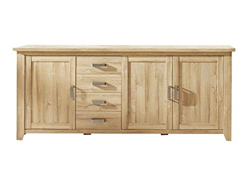 Newfurn dressoir natuur dressoir highboard multifunctionele kast II 219x92x 48 cm (BxHxD) II [Holm.Sixte] in oude eiken imitatie / oude eiken woonkamer slaapkamer eetkamer