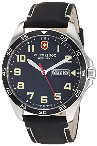 Victorinox Fieldforce Stainless Steel Analog Quartz Watch with Leather Strap, Black, 20 (Model: 241846)