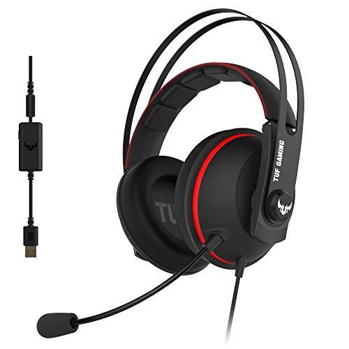 ASUS TUF Gaming H7 Red - Auricularescompatiblescon PC, Mac, PS4, Nintendo Switch, smartphones y Xbox One con sonido 7.1 virtual integrado y con altavoces Asus Essence, Rojo