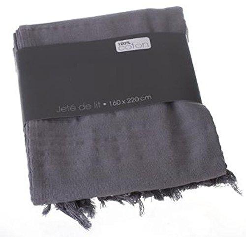 PEGANE Couvre-lit, Jeté de lit en Coton Coloris Gris, 160 x 220 cm