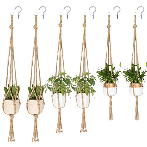 TIMEYARD Macrame Plant Hangers - Handmade Indoor Outdoor Wall Hanging Planter Plant Holder Pot Hangers for Plants - 6 Packs 3 Sizes with 6 PCS Ceiling Hooks